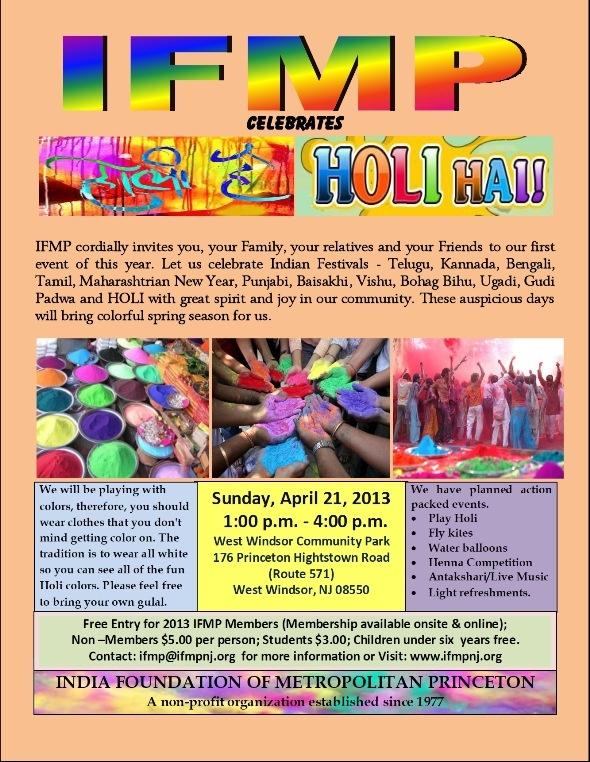 IFMP Celebrates Holi Hai at West Windsor Community Park, Princeton