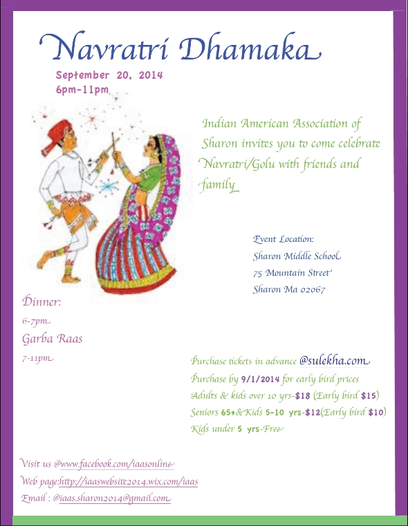 Navratri Celebration in Sharon Middle School Sharon MA Indian Event
