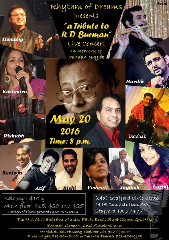 "On Sat 4/23: Meet Houston's talented singer Hardik Jani. Hemang Thakkar will share info about the concert ""A Tribute to RD Burman"" (on Fri 5/20, 8pm @ Stafford Civic Center)."